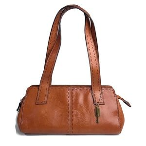 Vintage Fossil Handbag Brown Leather Baguette